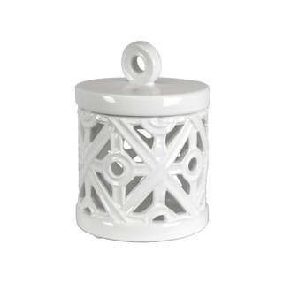 Ceramic White Canister By Home