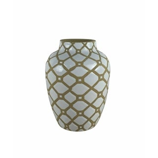 Fine-Looking Decorative Ceramic Vase, White And Brown