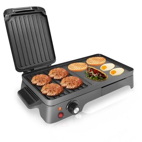 NutriChef PKGRIL43 Electric Griddle Crepe Maker Cooktop w/ Press Grill