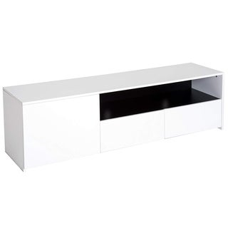 "HomCom 63"" Modern Contemporary Storage Unit TV Stand Console Table With Door and Drawers - White / Black"