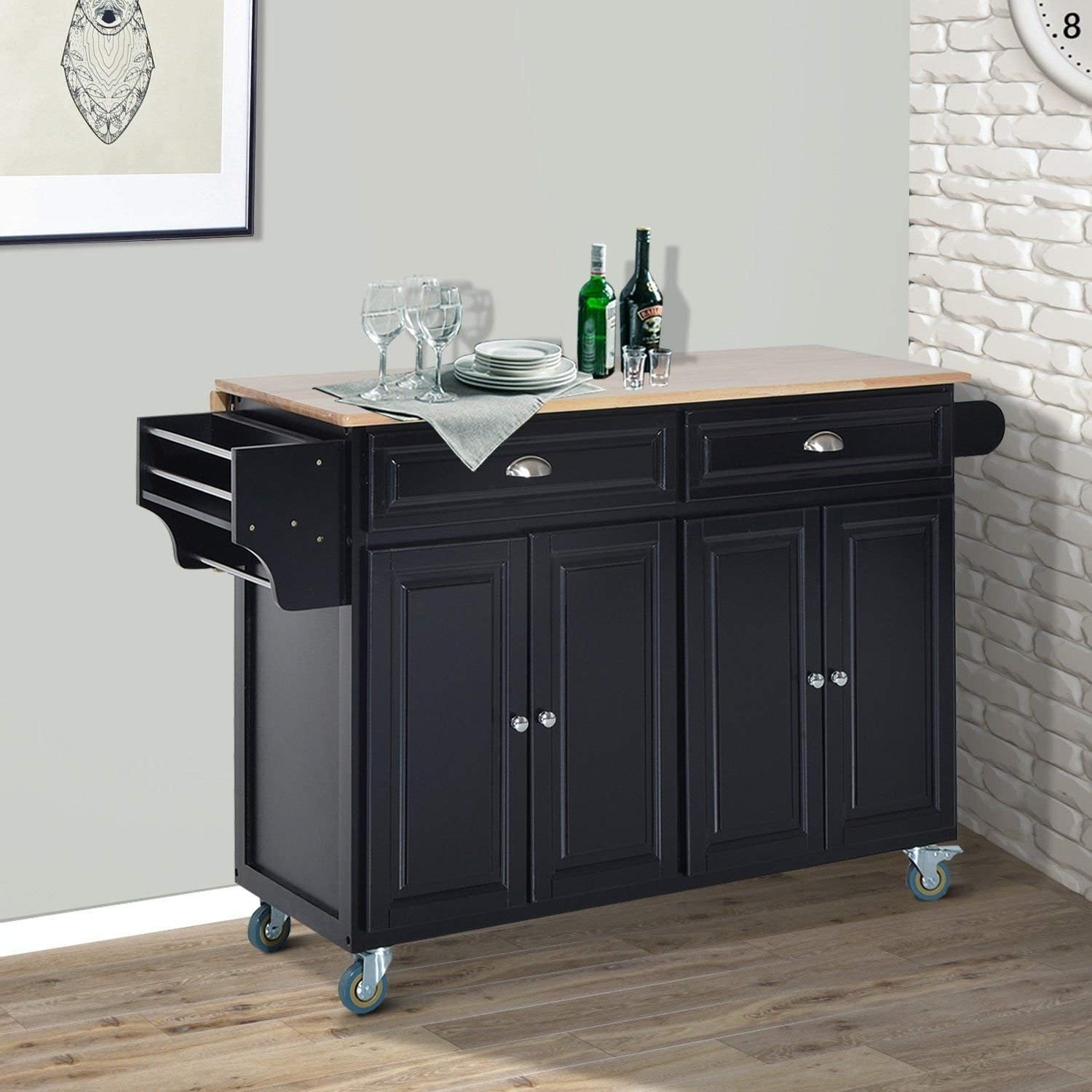 Image of: Shop Black Friday Deals On Homcom Wood Top Drop Leaf Multi Storage Cabinet Rolling Kitchen Island Table Cart With Wheels Black Overstock 23055932