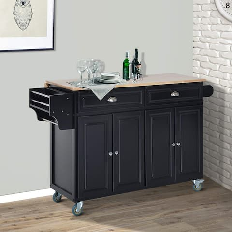 HomCom Wood Top Drop-Leaf Multi-Storage Cabinet Rolling Kitchen Island Table Cart with Wheels - Black