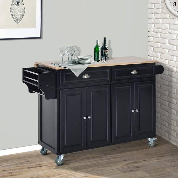 Shop HomCom Wood Top Drop-Leaf Multi-Storage Cabinet Rolling ...