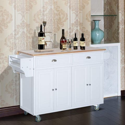 HomCom Wood Top Drop-Leaf Multi-Storage Cabinet Rolling Kitchen Island Table Cart with Wheels - White