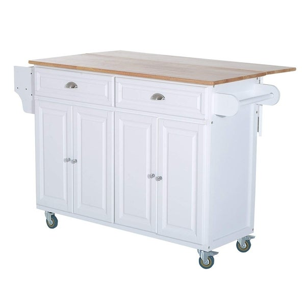 shop homcom wood top drop leaf multi storage cabinet rolling kitchen island table cart with. Black Bedroom Furniture Sets. Home Design Ideas