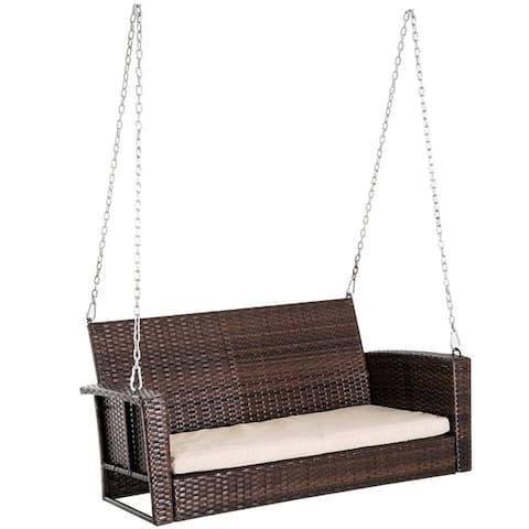 Outsunny 2-Person Outdoor Weather Resistant Hanging Wicker Porch Swing Chair with Cushion - Dark Brown