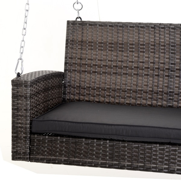 Outsunny 2 Person Outdoor Wicker Porch Swing Chair Garden Hanging Bench With Cushion