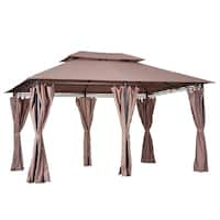 Outsunny 10' x 13' 2-Tier Steel Outdoor Garden Gazebo With Vented Soft Top Canopy And Removable Curtains