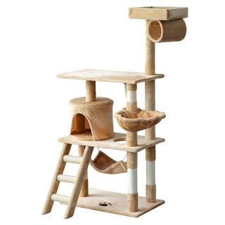 "PawHut 55"" Plush Sturdy Interactive Cat Condo Tower Scratching Post Activity Tree House - Beige"