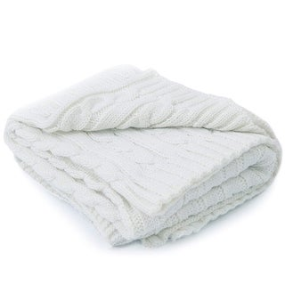 Cheer Collection Knitted Acrylic Ivory Throw Blanket
