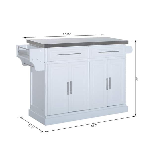 Homcom Pine Wood Stainless Steel Multi Storage Portable Rolling Kitchen Island Cart With Wheels White Overstock 23055956