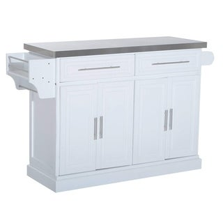 HomCom Pine Wood Stainless Steel Multi-Storage Portable Rolling Kitchen Island Cart With Wheels - White