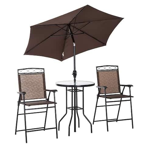 Outsunny 4-piece Folding Outdoor Patio Pub Set with Umbrella