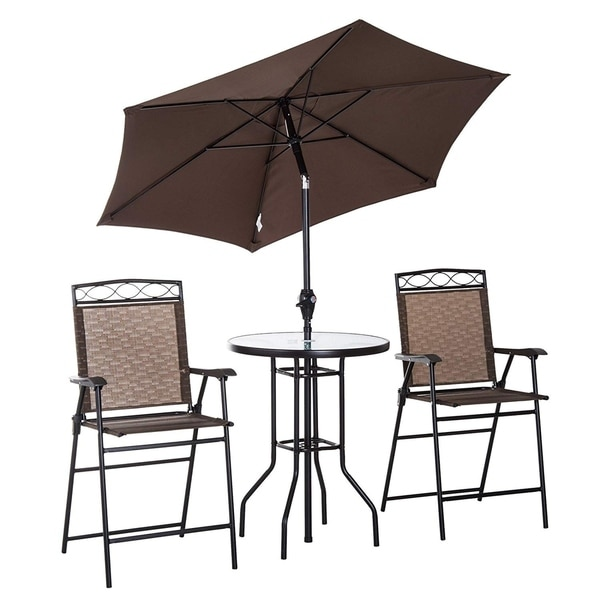 Outsunny 4 Piece Folding Outdoor Patio Pub Dining Table And Chairs Set With 6 X27