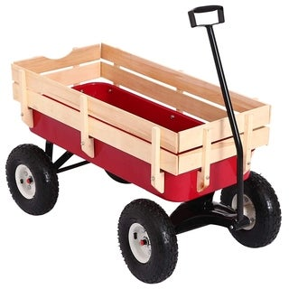 Durhand Rugged All-Terrain Kids Cargo Wagon Cart - Red / Natural Wood - Natural Wood