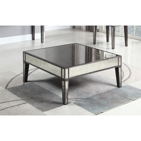 Best Master Furniture Grey/Brown Wood Antique Mirror Square Coffee Table