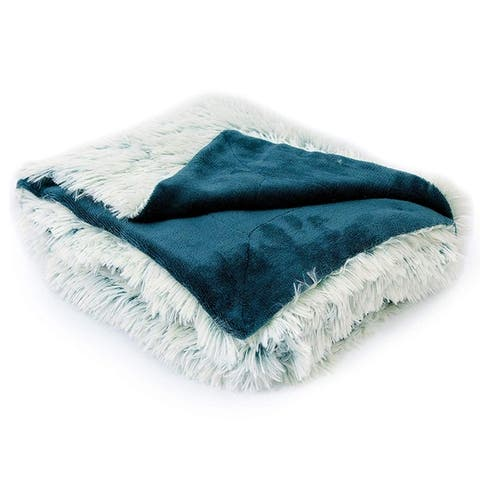 Cheer Collection Reversible Faux Fur Accent Throw Blanket