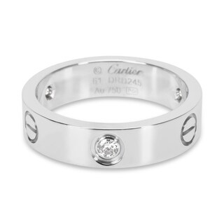 Pre-Owned Cartier Love Ring with Diamonds in 18KT White Gold 0.30 ctw