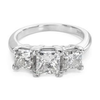 Pre-Owned Three Stone Princess Cut Diamond Engagement Ring in 14K White Gold (2.50 CTW)