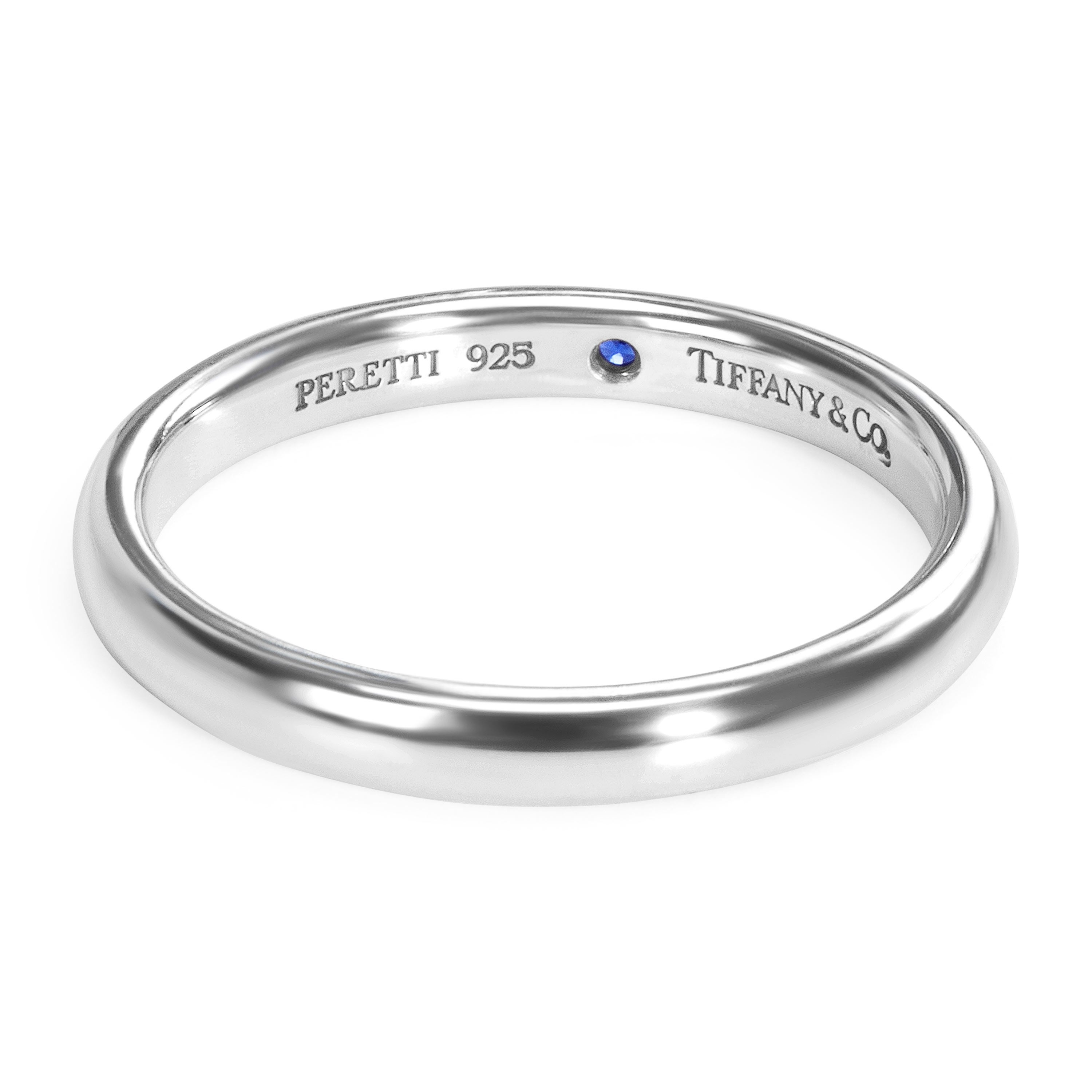 15b6e6893 Shop Pre-Owned Tiffany & Co. Elsa Peretti Sterling Silver Sapphire Band -  Free Shipping Today - Overstock - 23056035
