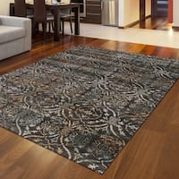 Plaza Style Brown Area Rug - 7'10 x 10'6