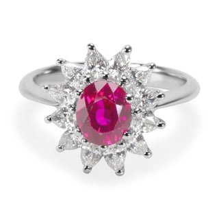 Pre-Owned Tiffany & Co GIA Certified Burmese Ruby & Diamond Ring in Platinum 2.13 ctw
