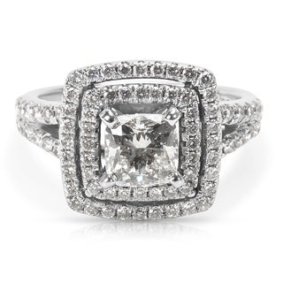 Pre-Owned Shane & Co. Double Halo Diamond Engagement Ring in 14K White Gold (1.46 CTW)