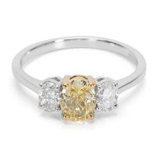 Pre-Owned GIA Certified Fancy Yellow 3 Stone Diamond Engagement Ring in Platinum 1.10 ctw