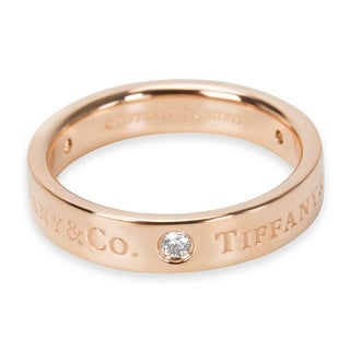 Pre-Owned Tiffany & Co. Signature Diamond 4mm Band in 18KT Rose Gold 0.07ctw