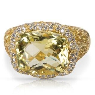 Pre-Owned Lemon Quartz, Diamond & Yellow Sapphire Cocktail Ring in 18K Yellow Gold