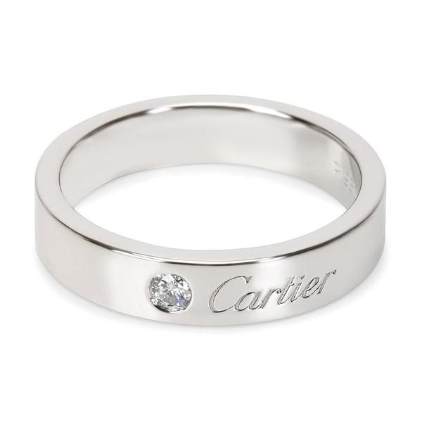 c436fc181fe92 Shop Pre-Owned C De Cartier Diamond Wedding Band in Platinum 4mm ...