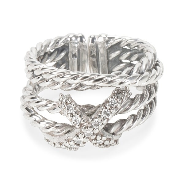 5a9889bcd2fc1 Shop Pre-Owned David Yurman Diamond X Ring in Sterling Silver - Free ...