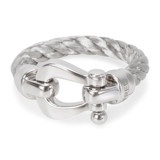 Pre-Owned Fred Woven Buckle Ring in 18KT White Gold (Size 5.5)