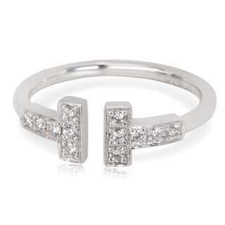 Pre-Owned Tiffany & Co. Diamond T Ring in 18K White Gold (0.12 CTW)