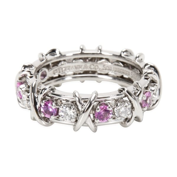 6dd3c3928 Pre-Owned Tiffany & Co. Schlumberger Diamond & Pink Sapphire Ring