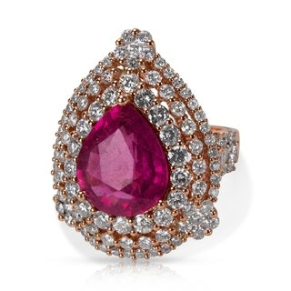 Pre-Owned M Christoff Pear Ruby & Diamond Ring in 18k Rose Gold (9.56 CTW)