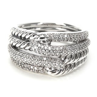 Pre-Owned David Yurman Labyrinth Double Loop Diamonds Ring in Sterling Silver 0.58ctw