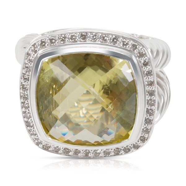 a426cf424334d1 Pre-Owned David Yurman Albion Ring with Prasiolite and Diamonds 14mm 0.45  ctw