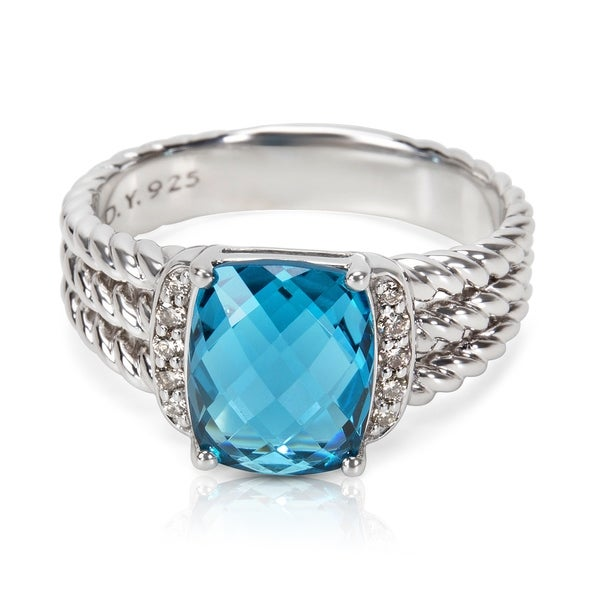 10da2df066c9 Pre-Owned David Yurman Petite Wheaton Ring with Hampton Blue Topaz  amp   Diamonds in