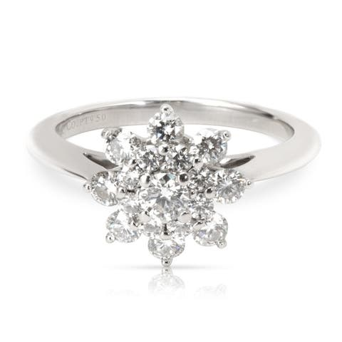 Pre - Owned Tiffany & Co. Diamond Flower Ring in Platinum (0.60 CTW) Size - 5
