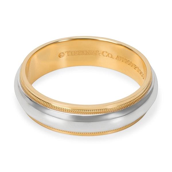 Tiffany Co Platinum 18k Gold 3mm Milgrain Wedding Band: Shop Pre-Owned Tiffany & Co. Double Milgrain Platinum