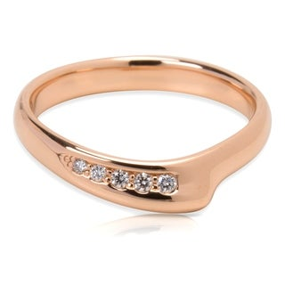 Pre-Owned Tiffany & Co. Elsa Peretti Diamond Open Heart Band Ring in 18k Rose Gold