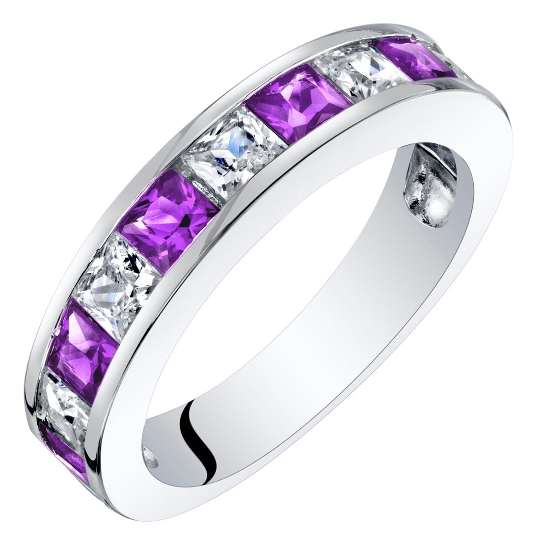 22 Ct Natural Amethyst Eternity Ring Made of Sterling Silver