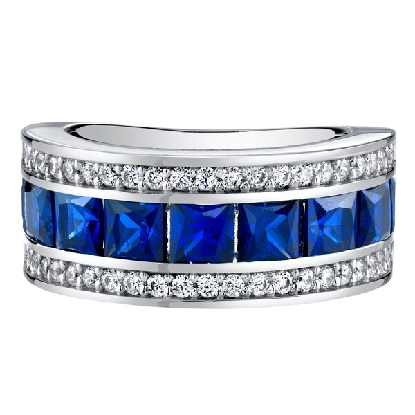 Baguette Eternity Genuine Sterling Silver Ring Set Blue Sapphire Princess