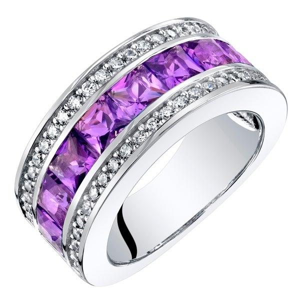 Shop Sterling Silver Princess Cut Amethyst 3 Row Wedding