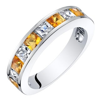 Sterling Silver Princess Cut Citrine Half Eternity Wedding Ring Band 1 Carat - Yellow
