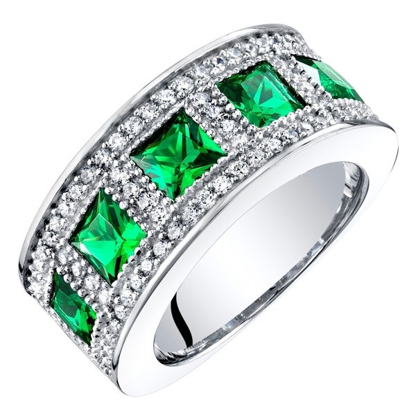 Sterling Silver Princess Cut Simulated Emerald Anniversary Ring Band 2 Carats - Green. Opens flyout.
