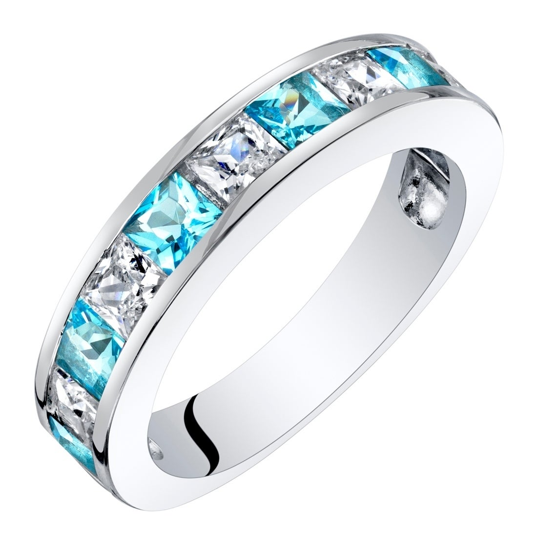 It is just a picture of Sterling Silver Princess Cut Swiss Blue Topaz Wedding Ring Band 35 Carat