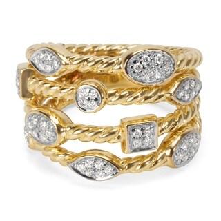 Pre-Owned David Yurman Confetti 4 Strand Diamond Ring in 18KT Yellow Gold 0.25 ctw