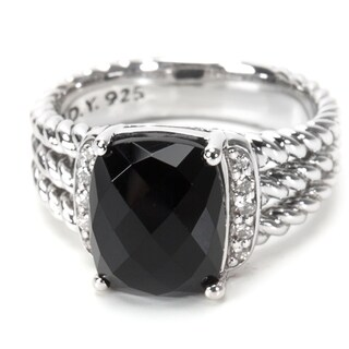Pre-Owned David Yurman Petite Wheaton Onyx and Diamond Ring in Sterling Silver